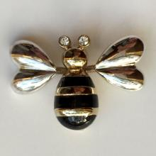 Two tone brooch pin BEE shape with moving wings black enamel and white rhinestones
