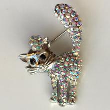 Silver tone CATshape pin brooch with rhinestones