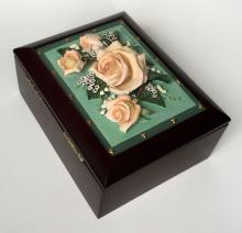 Music Wooden Jewelry Trinket Box with 3D flowers bouquet, Gift of Sound LLC.
