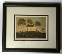 Vintage lithograph picture of homes and trees made by W.Kimble in wood frame covered with glass
