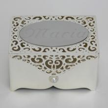Silver tone jewelry box with engraving on top