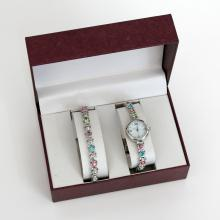 Silver tone with multicolor rhinestones SET of watch and matching bracelet in original box