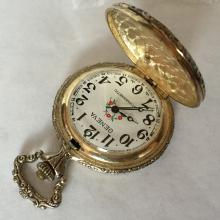 Geneva Antimagnetic windup pocket watch with train design and flower design