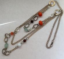 Vintage multi strand silver color necklace with different shape and color stones