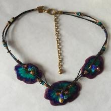 Colorful enameled necklace with genuine beads and leather, signed