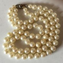 White color round faux knotted pearls 2 lines necklace with silver tone rectangular shape fancy clasp