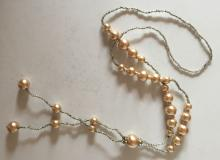 Beige color round faux pearls and small glass beads necklace with rhinestones