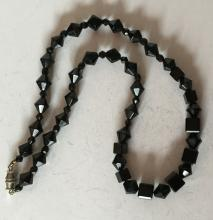 Vintage black onyx fancy shape beads necklace with silver tone clasp
