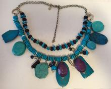 Silver tone necklace with turquoise color different shape beads, signed CHICO'S