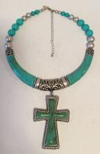 Silver tone necklace with turquoise color beads and cross shape pendant, signed CHICO'S
