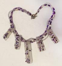 Multi color and multi strands purple and white beads necklace with toggle clasp
