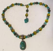 Peridot color round beads and turquoise beads necklace with silver tone spacers and clasp