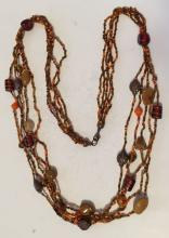 Brown and orange color small beads with Murano glass type beads multi strands necklace with clasp
