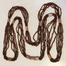 Brown small beads and bone like tube shape beads multi strands necklace with no clasp