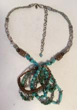 Silver tone necklace and pendant with genuine turquoise tubes and chips beads, signed CHICO'S