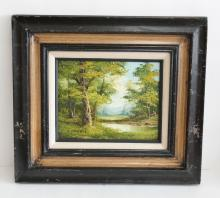 Vintage CLARA INNESS Landscape oil on canvas painting with frame.
