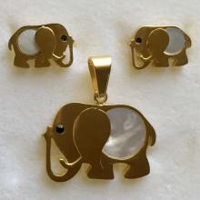 Gold plated stainless steel and genuine mother of pearl flat set push back earrings and pendant in shape of ELEPHANT