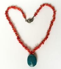 Sterling silver genuine coral chips fancy clasp necklace with oval turquoise bead as a dangling pendant