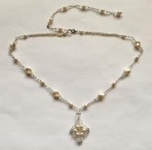 Silver tone chain with faux pearls and white faceted beads necklace