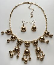 Gold plated SET: dangling half balls and lobster claw clasp necklace and dangling fish hook earrings