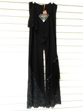 Amanda Adams Couture Embellished Beads Crystals. Size XL Extra large Black