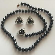 Black genuine mother of pearl round beads with silver tone and rhinestones clasp set - necklace and ear clips