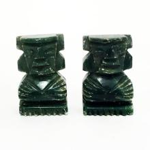 Vintage pair of carved from green stone figurines