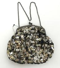 Evening purse bag with blackened metal chain - handle and closure, made for Fashion Jewelry Paradise USA