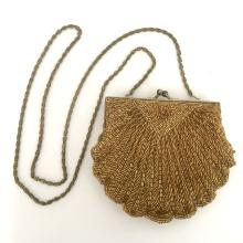 Vintage shell shape evening purse bag with gold tone chain as handle, signed LA REGALE