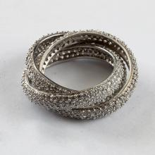 Sterling silver with micro pave set white CZ 3 rings in one ring Size 8