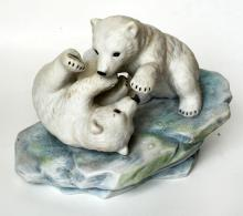 Fine porcelain POLAR BEAR CUBS Studio design P-9004 figurine statuette
