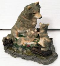 WOLF WITH THREE CUBS figurine statuette