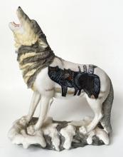 HOWLING ALASKAN WOLF figurine statuette