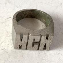 Vintage sterling silver ring with letters MCH, size 6