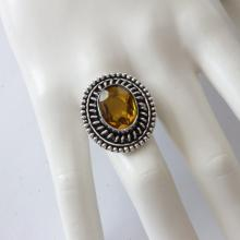 Sterling Silver 925 ring citrine color stone size 8