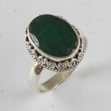 Sterling Silver Ring with 5.88 ct Genuine Oval Emerald.