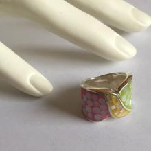 Sterling silver enamel and mother of pearl rings, size 6