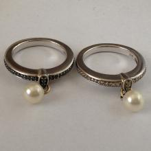 Sterling silver and 14k gold diamond and pearl 2 rings
