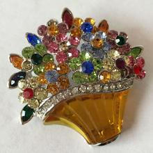 Vintage multi color rhinestones in shape of bouquet and carved stone basket brooch / pin, no hallmarks
