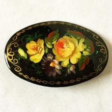 Oval black papie-mache hand painted one of a kind brooch, signed Vasiljeva, made in Russia