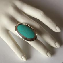 Sterling silver turquoise color genuine howlite oval cabochon ring, size 7