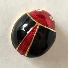 Gold plated crystals lady bug shape enameled brooch / pin, no hallmarked