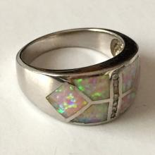 Sterling silver Inlayed opal and CZ ring, size 9.25