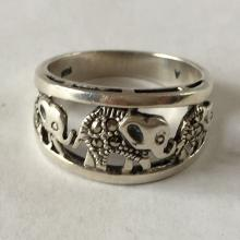 Sterling silver marcasites 3 elephants ring, size 10
