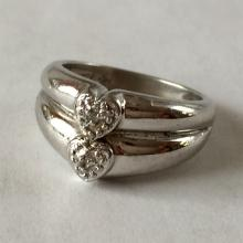 Sterling silver pave set diamonds two heart ring, size 5
