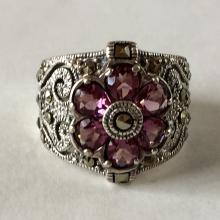 Sterling silver marcasites and lab tourmaline flower shape ring, size 7 3/4