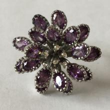 Vintage sterling silver oval amethysts and white CZ flower shape ring, size 6