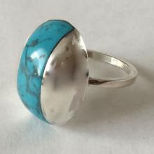 Sterling silver genuine howlite turquoise color ring, size 7