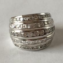 Sterling silver 5 rows chanel set white CZ dome ring, size 6