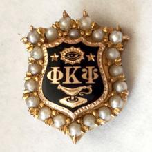 Antique 14k yellow gold genuine 1 mm white round pearls black enamel